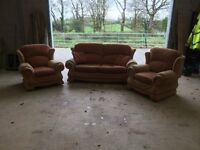 3 Seater Sofa 2 Armchairs Set
