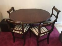 Dining table and 6 upholstered chairs - dark oak
