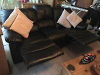 Black faux leather 3 seater double recliner sofa