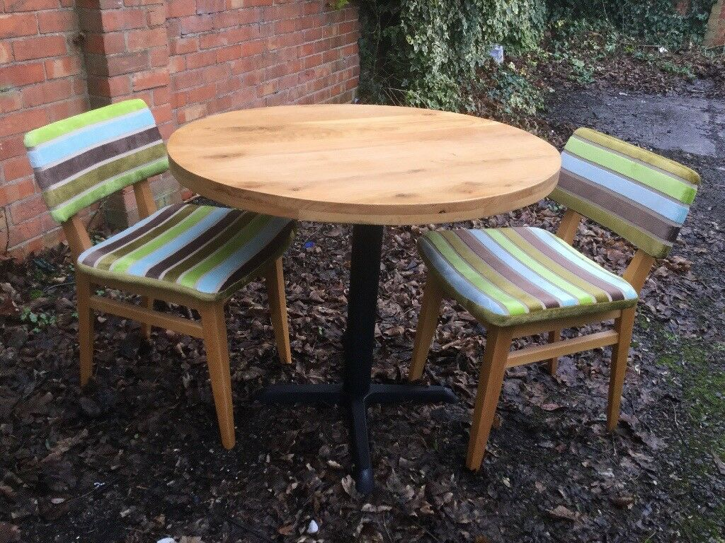 Oak Top Dining Table Diameter Two Chairs In Carlton - 36 diameter dining table