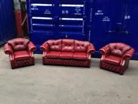 Immaculate genuine Italian leather chesterfield original 3 piece suite sofa / settee, chairs oxblood