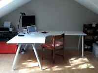 Ikea White corner desk, adjustable legs with extension - Offers accepted