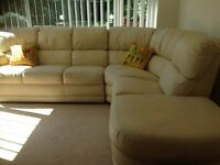 Cream Italian Leather corner sofa - very good condition and worn matching 3 seater 2 recliner £150