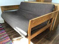 Stylish and lovely Futon Company 2 seater Solid Oak Sofa Bed