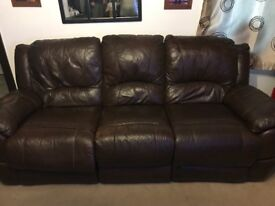 Brown leather 3 seater sofa for sale with 2 armchairs