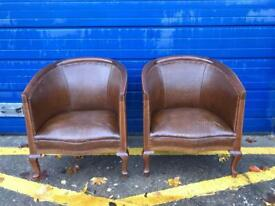 PAIR OF EDWARDIAN INLAID MAHOGANY CLUB CHAIRS - Antique Vintage Retro