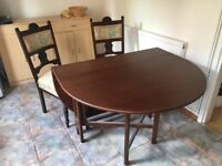 Dining table (drop leaf) and 2 chairs