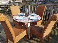 4 next chairs solid condition ideal for indoors or outdoor.you can have the table 3 of charge