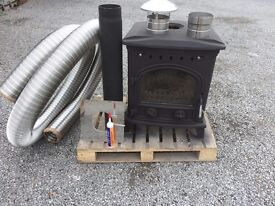 NEW 25 KW BACK BOILER STOVE + FLEXIBLE FLUE KIT !!! CAN DELIVER multi fuel wood coal turf blocks
