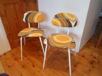 Pair of Retro 1970's Kitchen Chairs Orange Mustard Brown Metal Frame Stacking