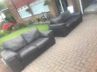 £150 Sofa, 3 seater AND 2 seater, dark brown leather.