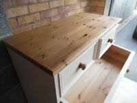 Solid Pine Chest of Drawers 4+2 Painted with wood finish to top & base