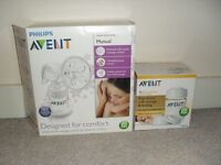 Avent breast pump with storage bottles