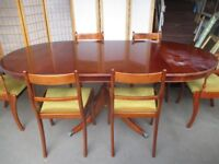 REPRODUCTION MAHOGANY EXTENDING DINING TABLE WITH SIX MATCHING DINING CHAIRS FREE DELIVERY