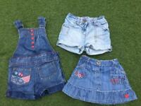 Girls 12-18 month denim shorts, skirt and pinafore shorts Next M&S