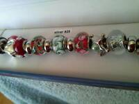 Glass 925 Silver bead Bracelet.
