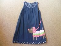 Girls Blue Frugi Dress Aged 5-6 Years (Reversible Dress)