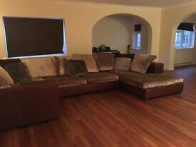 Extra Large Genuine Giovanni Erba Italian leather corner sofa
