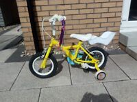 Childs 12inch apollo bike with stabilizers and dolls seat