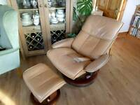Stressless Ekornes Recline Chair, Tan Leather.