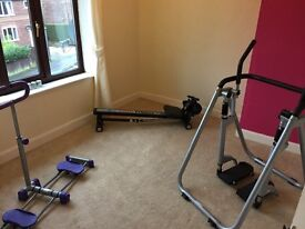 3 piece gym equipment including air walker and rowing machine