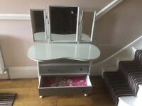 Kidney shaped dressing table with mirrors and two draws