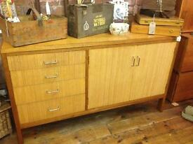 VINTAGE RETRO EX RAF INDUSTRIAL LOOK BLONDE WOODEN SIDEBOARD