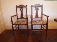 Two Oak Arts & Craft chairs