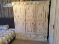 Large solid pine wardrobe and chest of draws
