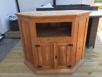 Solid pine farmhouse style corner tv / media cabinet