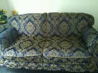 Blue printed fabric sofa
