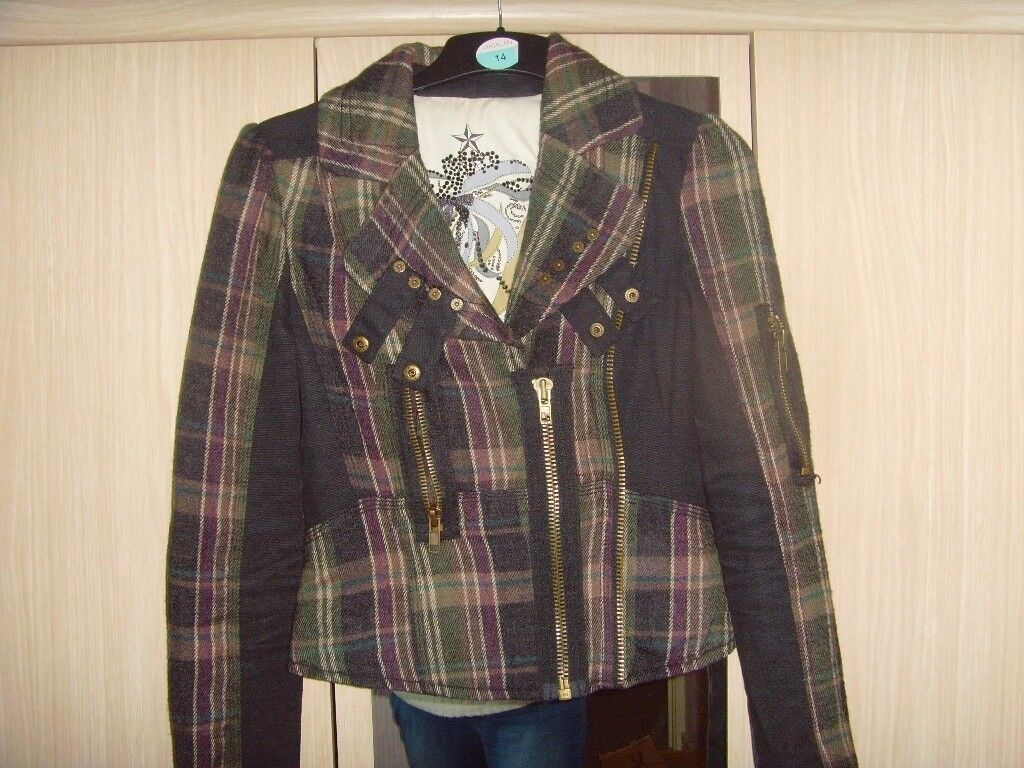 LADIES RIVER ISLAND CHECKED JACKET,SIZE 8 - £2