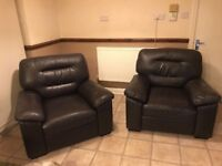 Brown leather sofa chairs