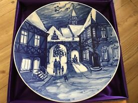 Meissen Winter Scene Blue and White Plate - 1975 - Boxed