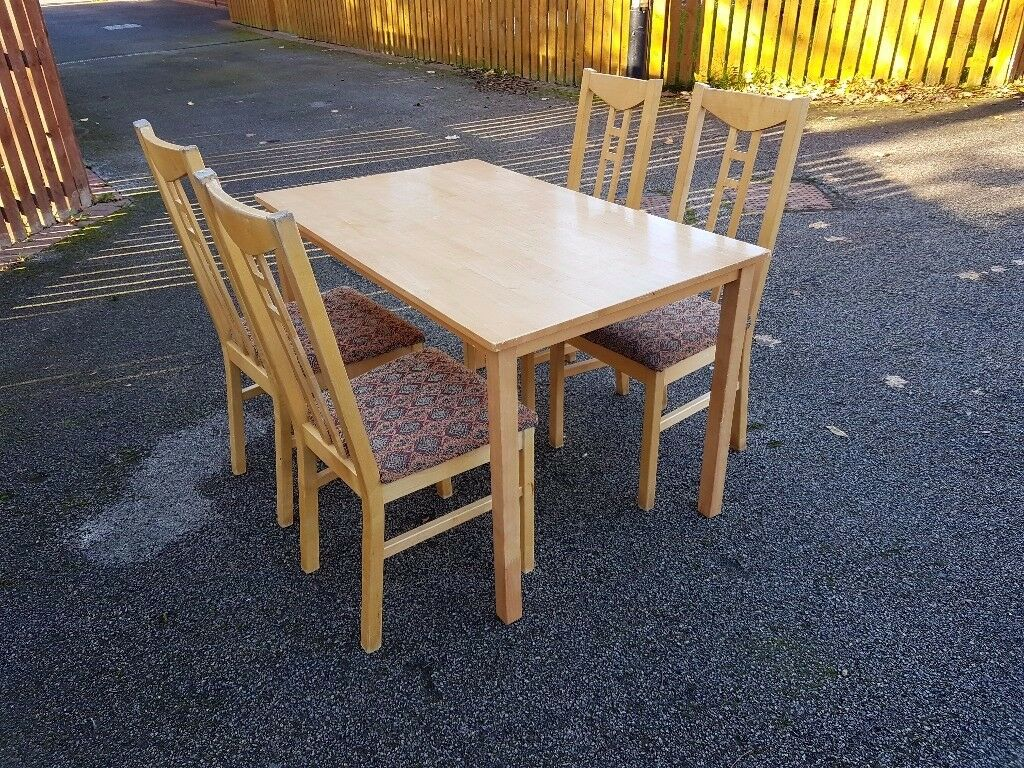 Ikea Solid Wood Table & 4 Chairs FREE DELIVERY 056