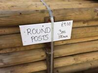 New treated round posts 3metre lengths