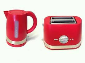 NEW CHERRY RED JUG 1.5L KETTLE & CHERRY RED 2 SLICE DEFROST REHEAT TOASTER