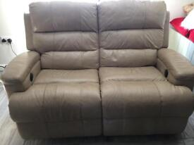 Cream leather recliningvtwo seater sofa and two chairs