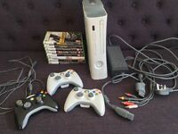 Xbox 360 bundle with games and 3 controllers