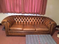 Chesterfield vintage tan 3 seater sofa and 2 matching arm chairs, Dark wood sideboard