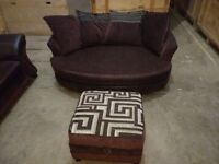 Dfs large sofa and large snuggle chair with foot stool brown fabric