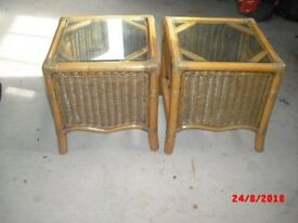 2 Bamboo lamp tables with glass tops and shelf below