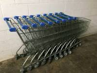 Nine supermarket trolleys
