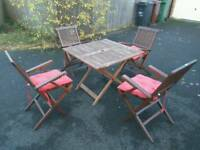 Wooden garden table 4 chairs and cushions