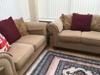 2 x 2 seater cream fabric sofas from CSL