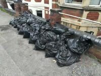 Bags of rubble and soil