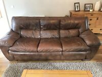 3 Seater and 2 Seater Sofa, Brown Leather for Sale