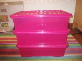PINK UNDERBED STORAGE PLASTIC BOXES X 3