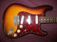 Fender Stratocaster Mexico , Mexican , MIM , Electric Guitar 1995 + Hard Case. / 3-Color Sunburst.