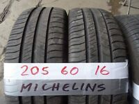 matching set of 205 60 16 michelins 6mm tread £90 FOR SET sup &fitd opn 7 days 6pm